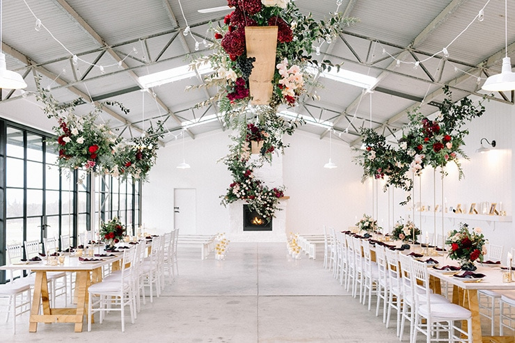 Modern romantic wedding reception styling in burgundy, pink and gold | Nattnee Photography