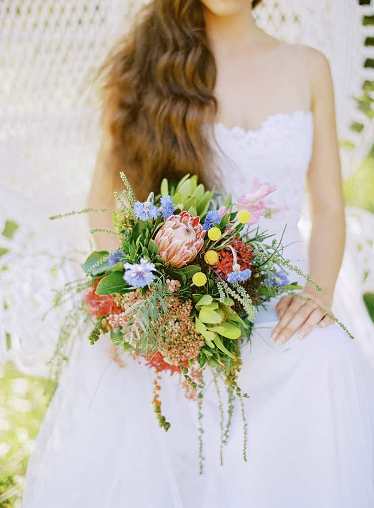 Natural-Bohemian-Wedding-Inspiration-Bright-Australian-Native-Bride-Bouquet