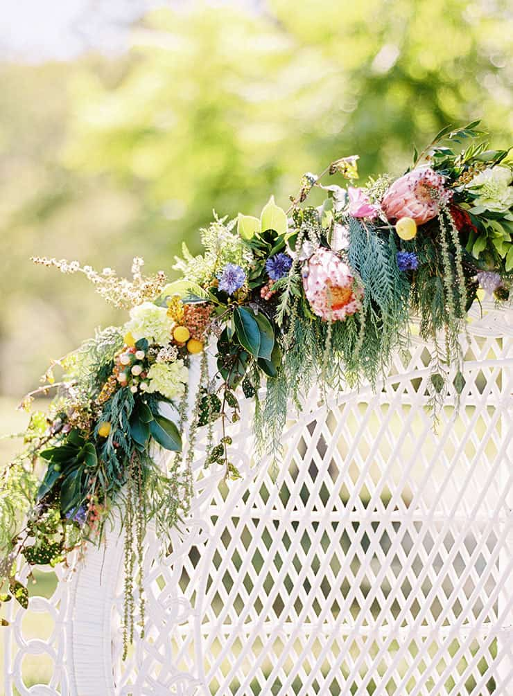 Natural-Bohemian-Wedding-Inspiration-Bright-Australian-Native-Flowers-Peacock-Chair