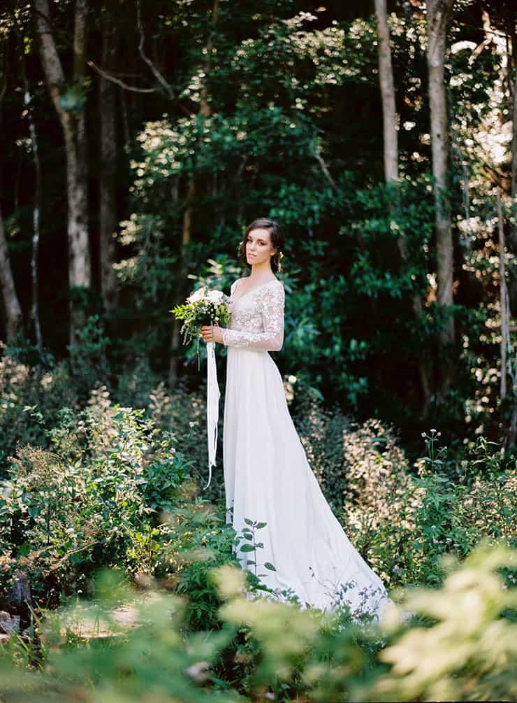 Natural-Bohemian-Wedding-Inspiration-Long-Sleeved-Dress-Woodland-Bouquet
