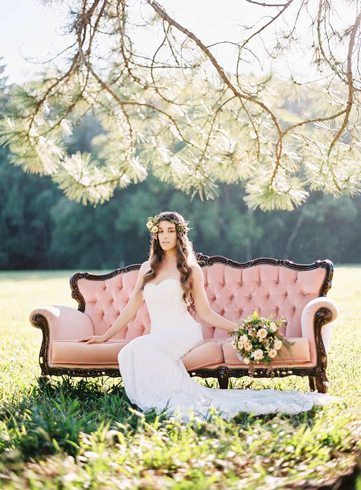 Natural-Bohemian-Wedding-Inspiration-Pink-Vintage-Lounge-Strapless-Lace-Dress-Bouquet
