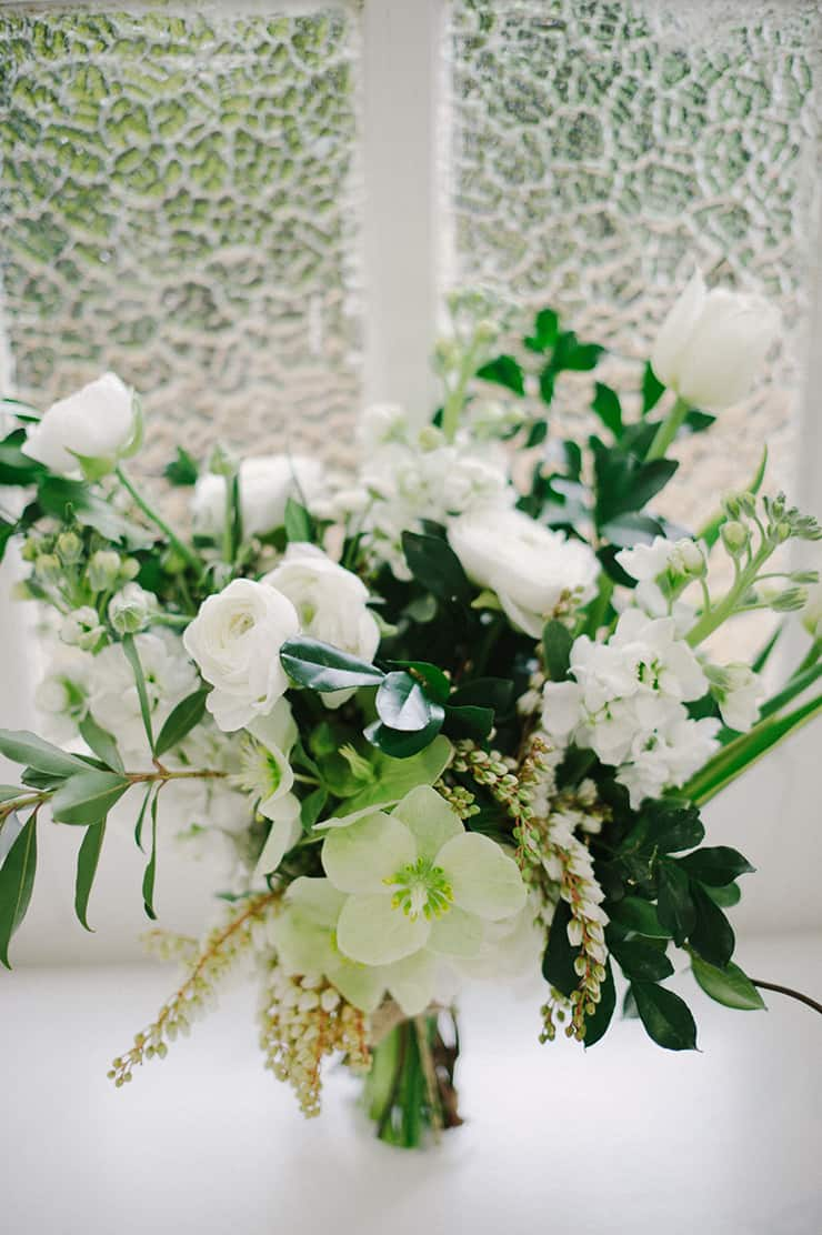 Natural boho wedding bouquet in white and green | Sophie Baker Photography