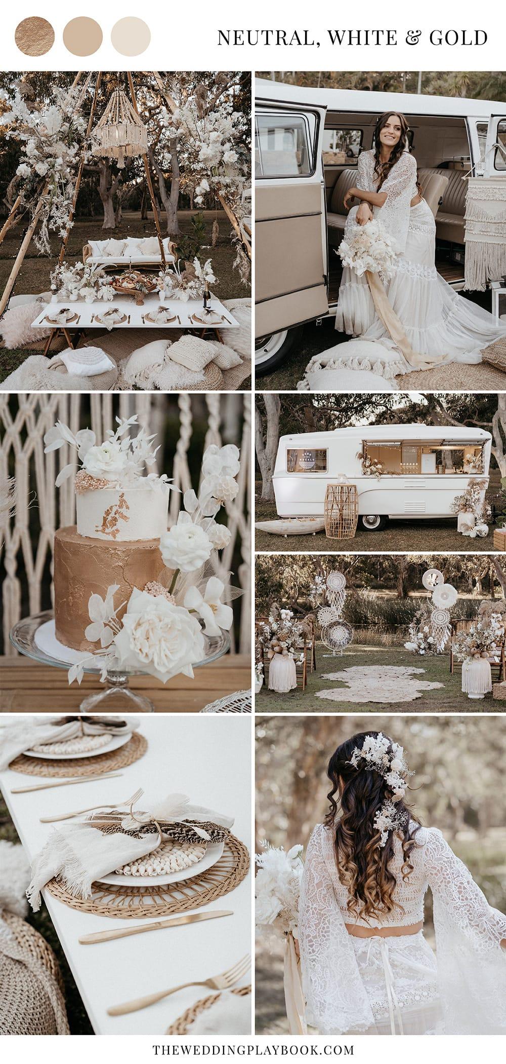 Outdoor Festival Bohemian Wedding Inspiration in Neutral, White & Gold   Photography: Shae Estella Photo