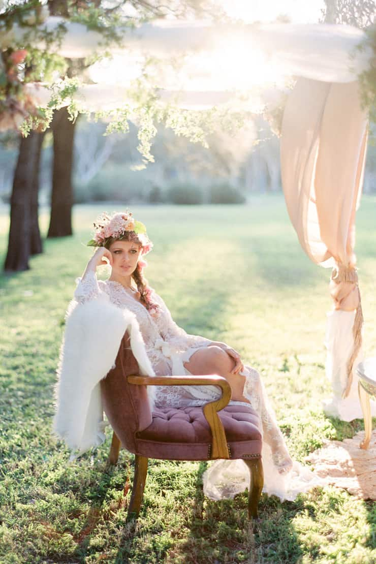 Bohemian bride in lace robe
