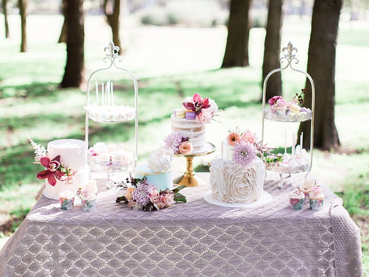 Pastel wedding cake and dessert display