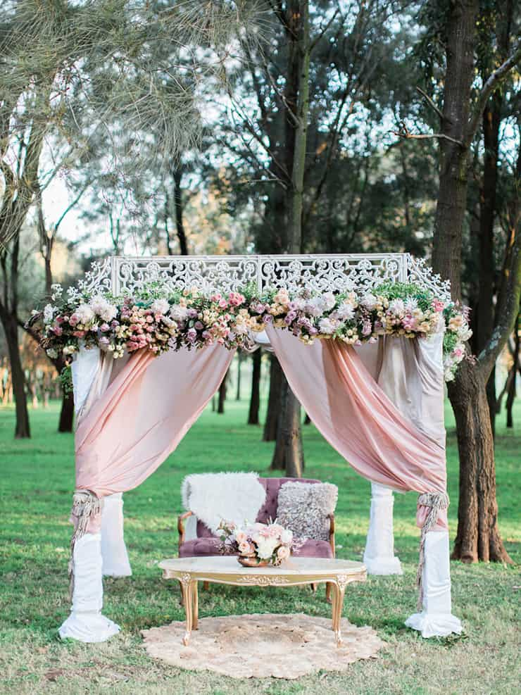 Pastel bohemian wedding ceremony