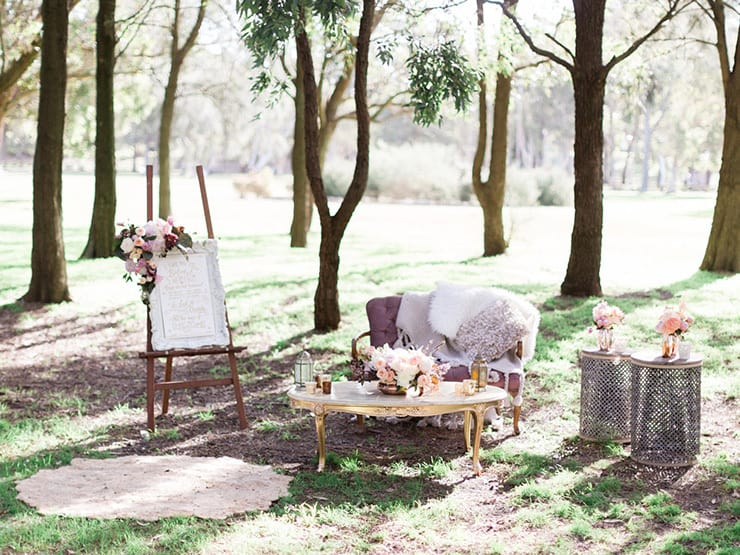 Romantic boho wedding lounge