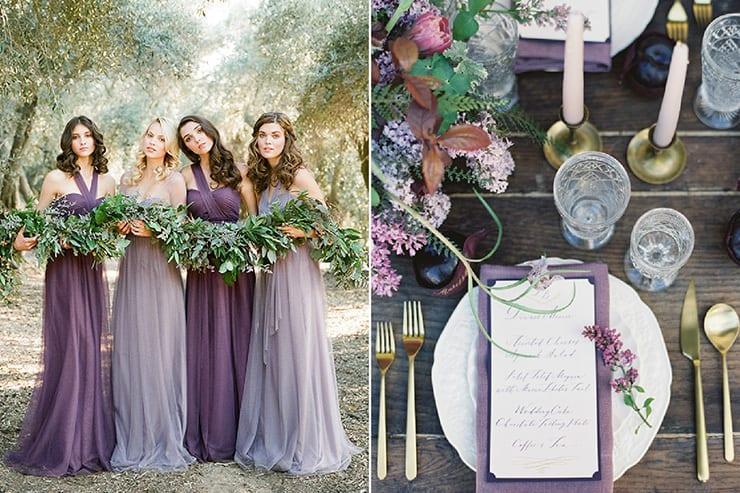 plum lilac and grey wedding inspiration