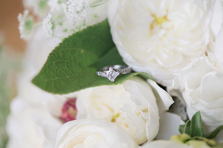 Wedding ring and bridal bouquet flowers