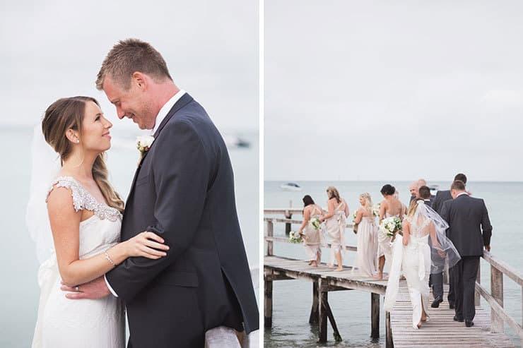 Bridal party beach wedding photos