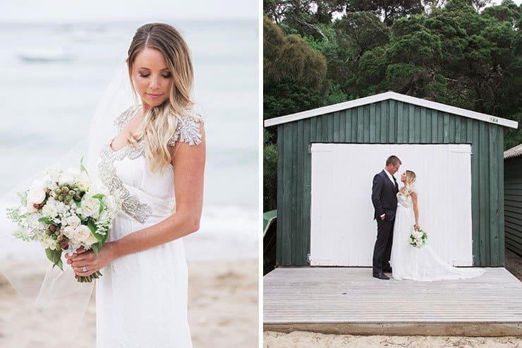Beach wedding bridal portraits
