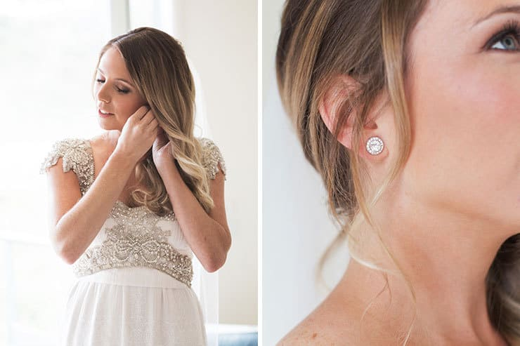 Bride wearing Anna Campbell wedding dress and earrings