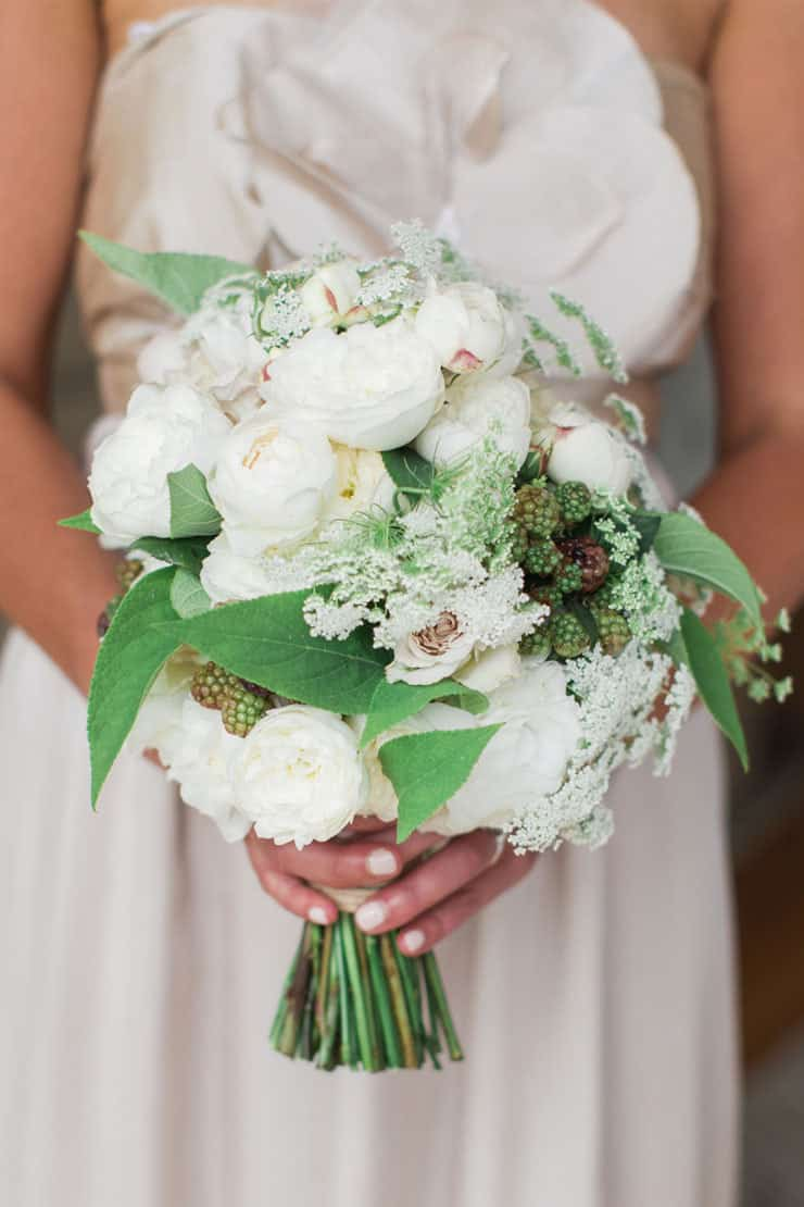 Green and white bridesmaid bouquet