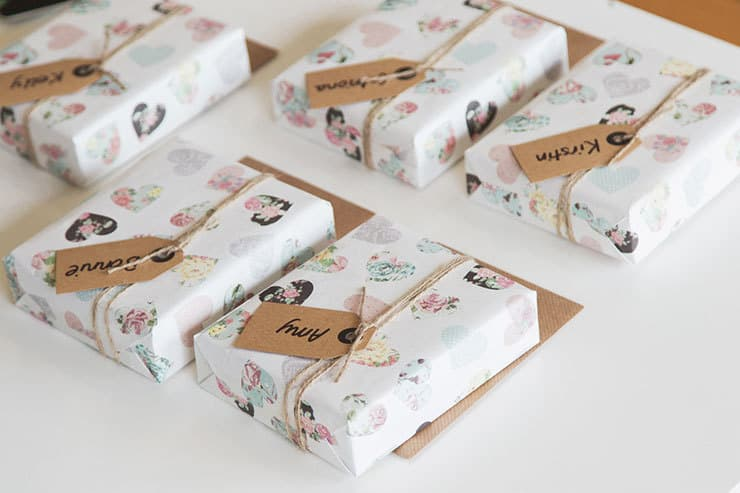 Wrapped bridesmaid gifts