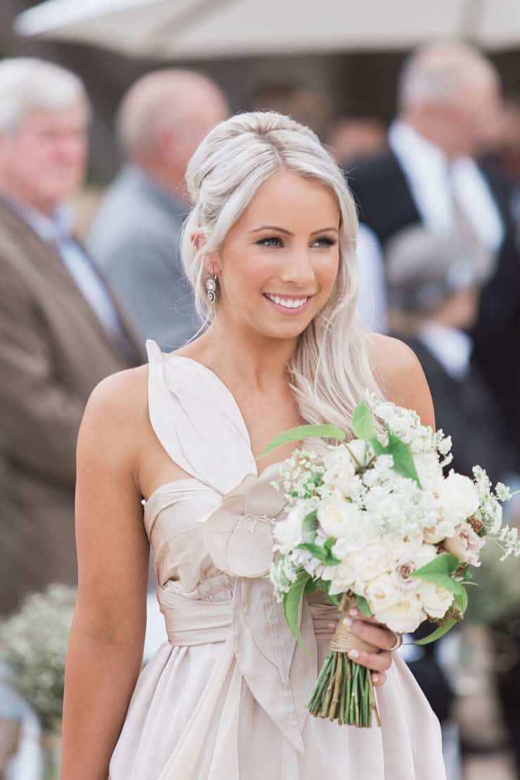 Champagne Anna Campbell bridesmaid dress