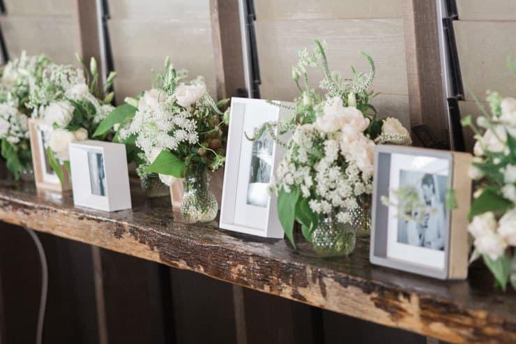 Wedding reception family photo display