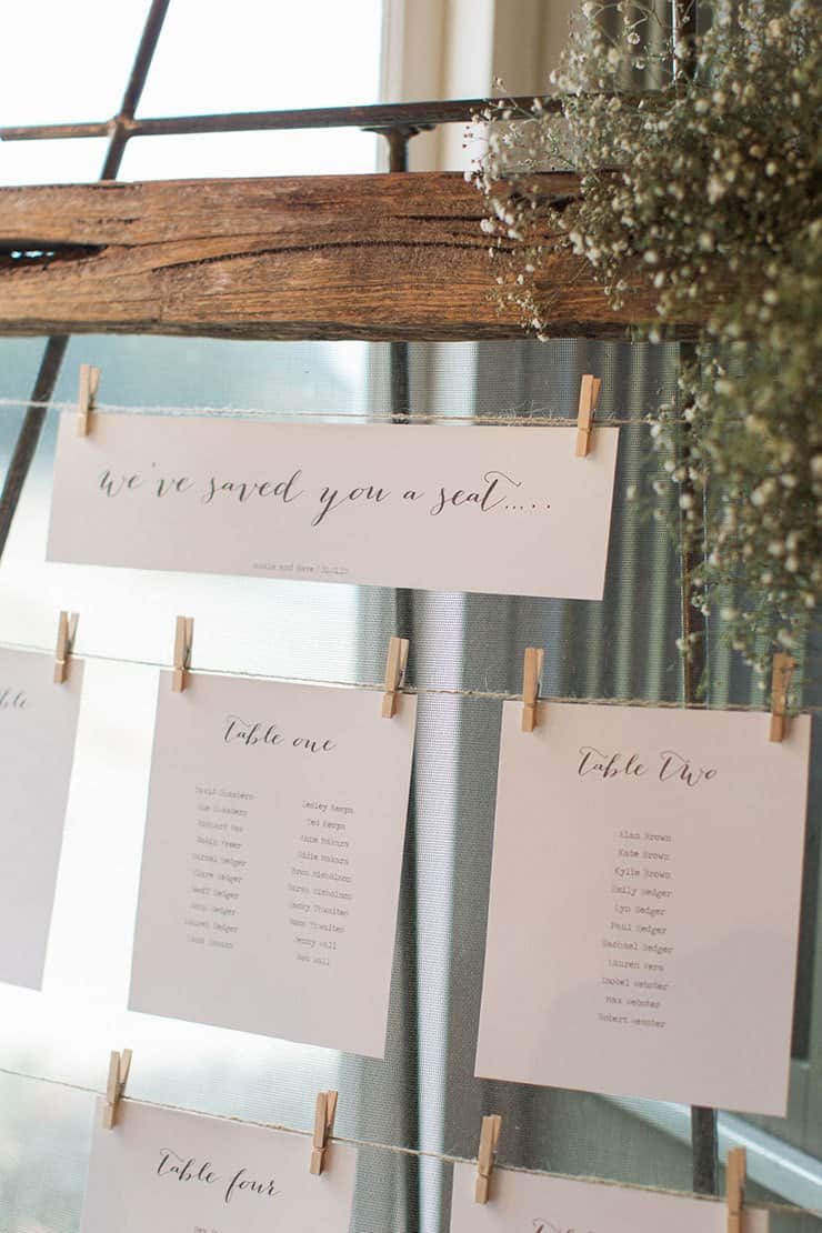 Rustic wedding reception seating chart