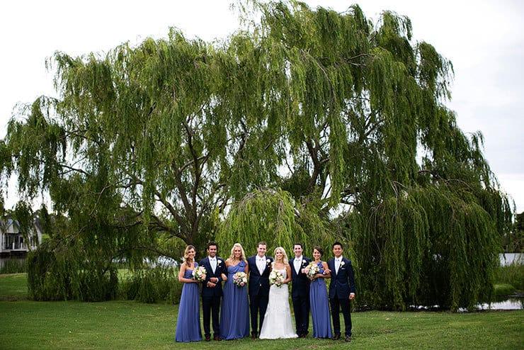 Pretty winery wedding bridal party