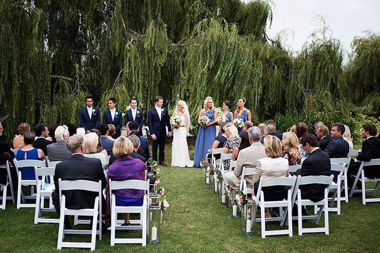 Pretty winery wedding outdoor garden ceremony