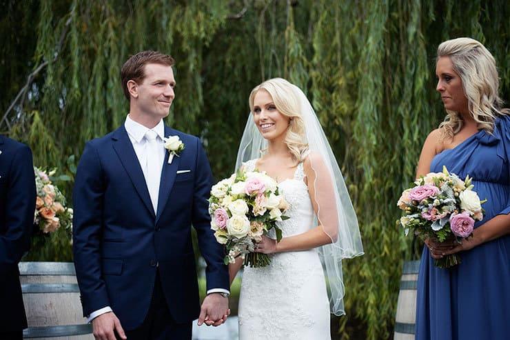 Bride and groom at outdoor garden wedding ceremony