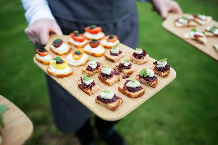 Wedding cocktail hour canapes