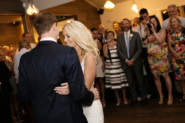 Pretty winery wedding bride and groom first dance