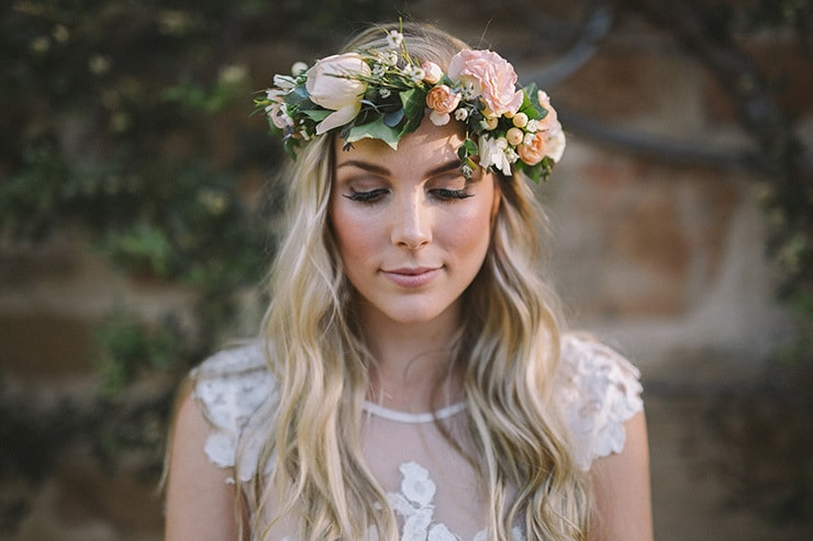 Relaxed-Vintage-Boho-Wedding-Inspiration-Bride-Dress-Flower-Crown-Hair-Makeup