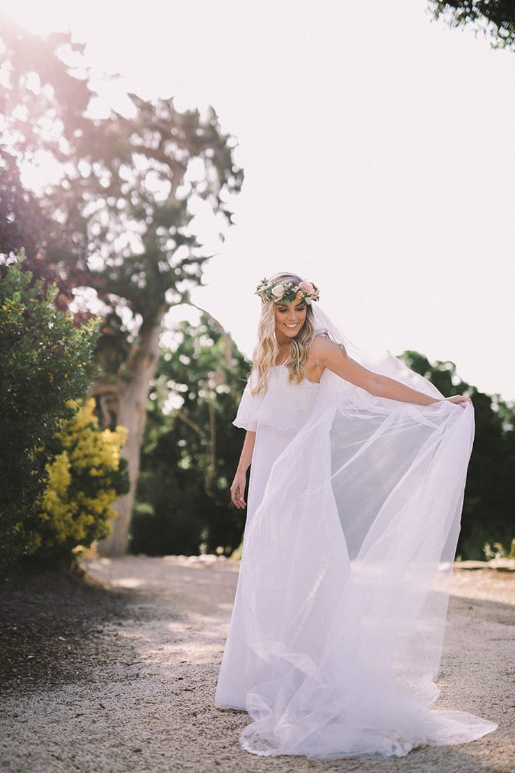 Relaxed Vintage Boho Wedding Inspiration Bride Dress Flower Crown