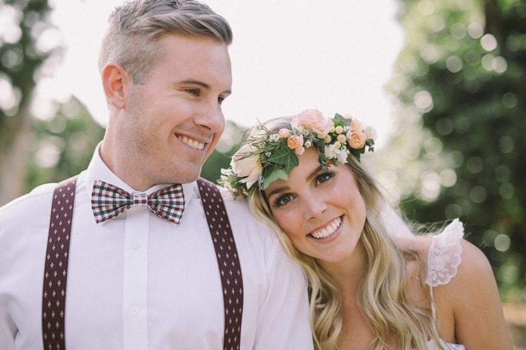 Relaxed-Vintage-Boho-Wedding-Inspiration-Bride-Flower-Crown-Groom-Bow-Tie-Suspenders