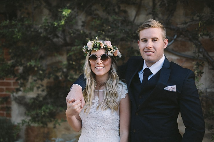 Relaxed-Vintage-Boho-Wedding-Inspiration-Bride-Flower-Crown-Groom-Relaxed