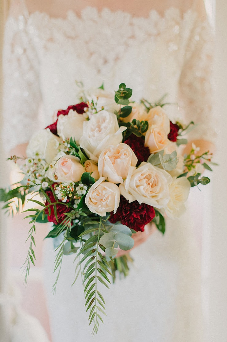 White Bouquet With Greenery Simple