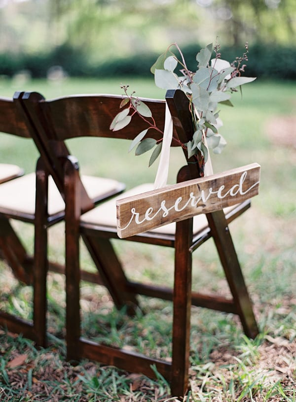 Reserved wedding ceremony seating sign | Lauren Peele via Style Me Pretty