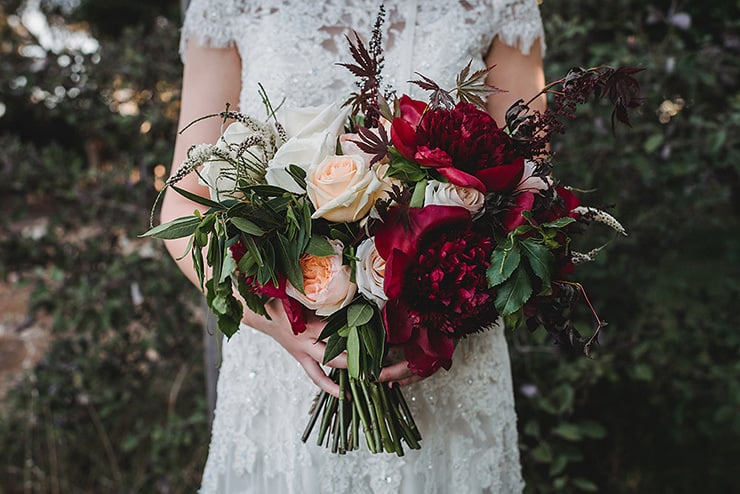 Rich-Berry-and-Navy-Rustic-Wedding-Bride-Bouquet