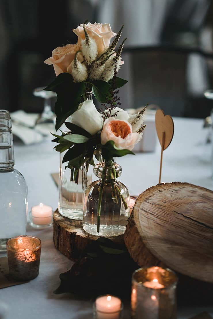 Rich-Berry-and-Navy-Rustic-Wedding-Reception-Centrepiece