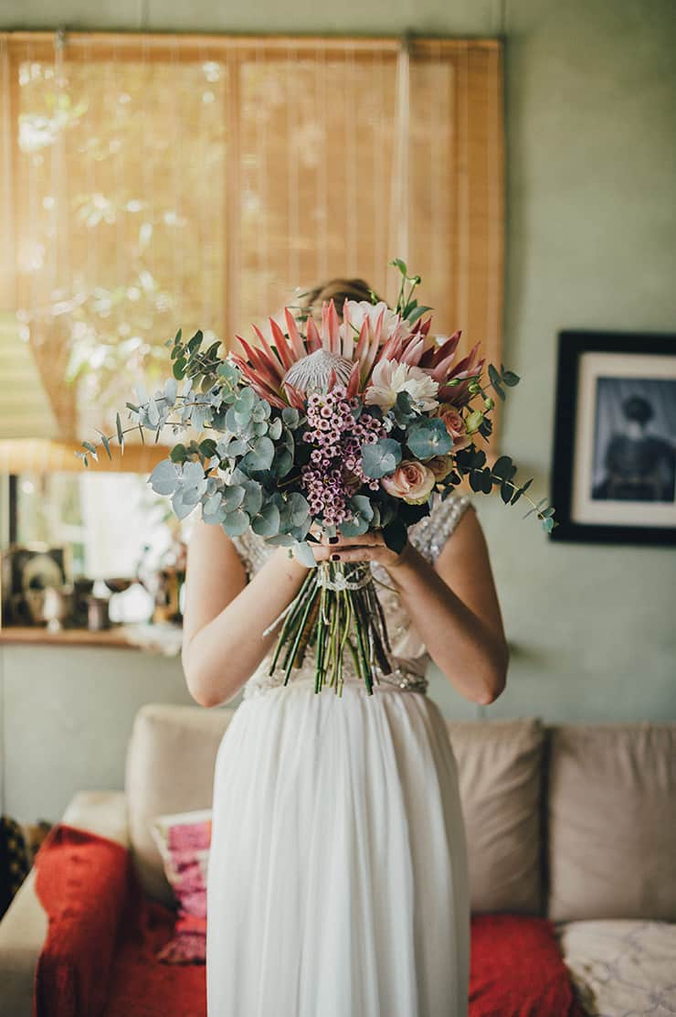 Protea bouquet for country wedding