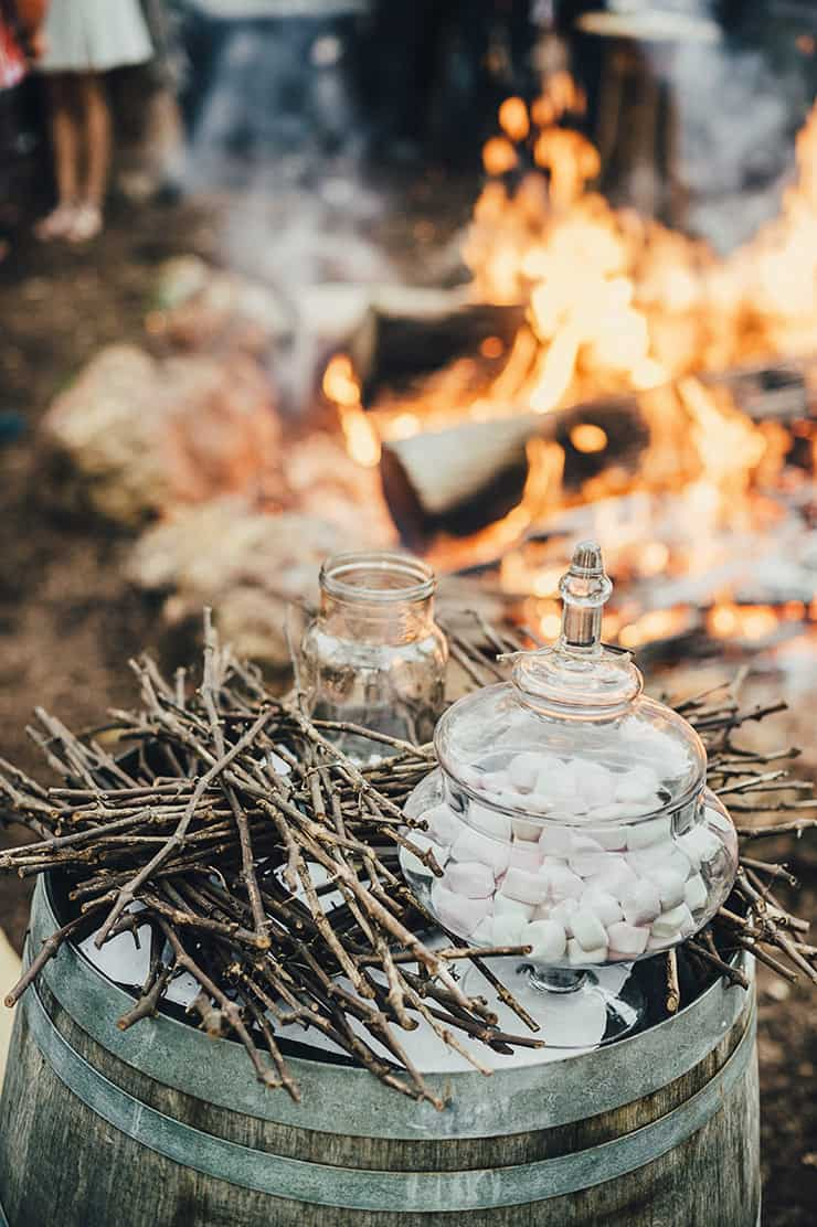 Marshmallow roasting station at country wedding