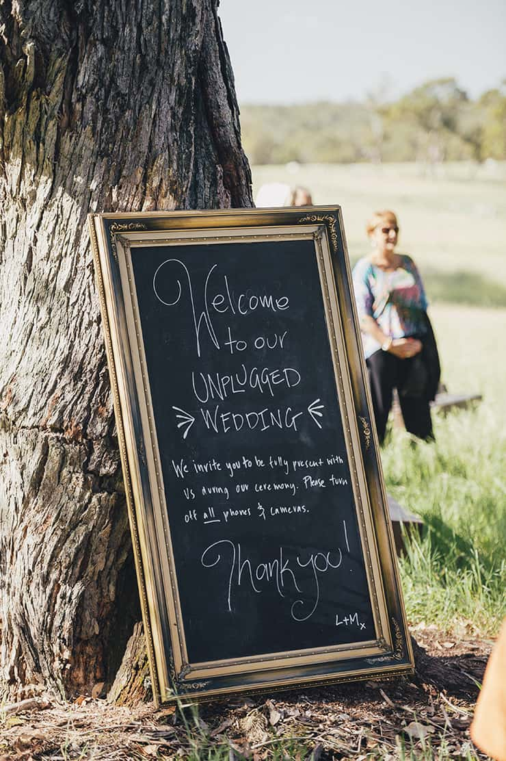 Unplugged wedding ceremony chalkboard