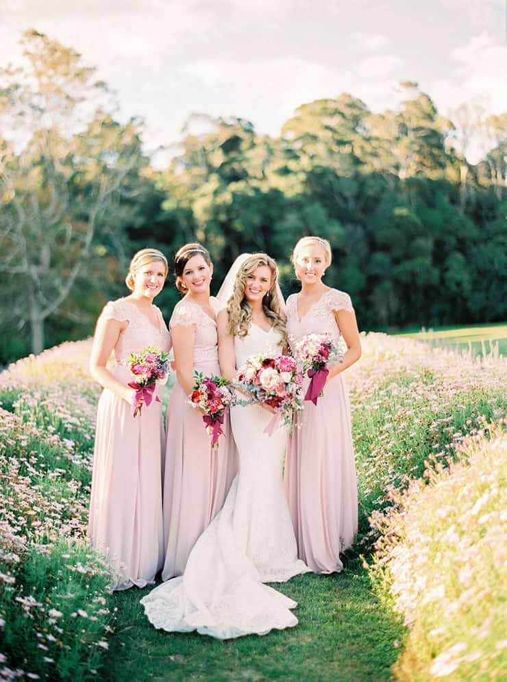 Romantic-Gold-&-Pink-Vintage-Wedding-Bride-Bridesmaids-Pink-Dresses