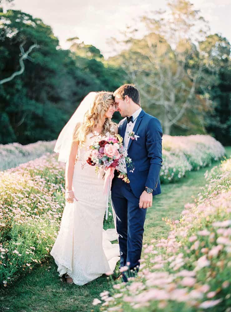 Romantic Wedding Gift From Groom To Bride : Romantic-Gold-&-Pink-Vintage-Wedding-Bride-Groom-Portrait-2