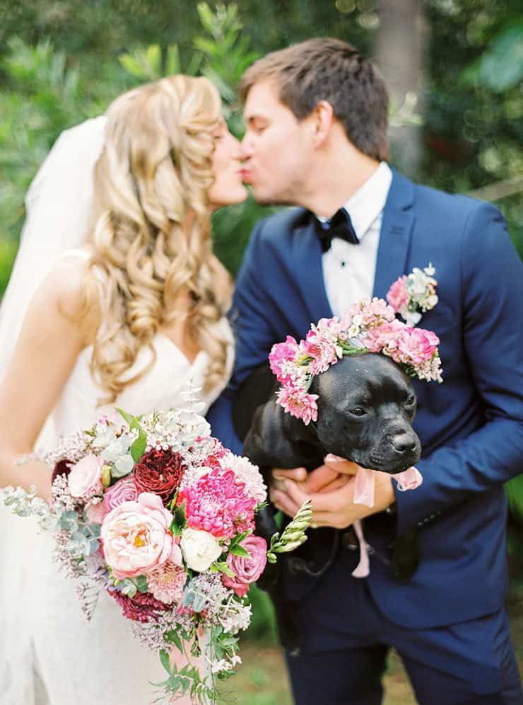 Romantic-Gold-&-Pink-Vintage-Wedding-Bride-Groom-Puppy-Flower-Crown