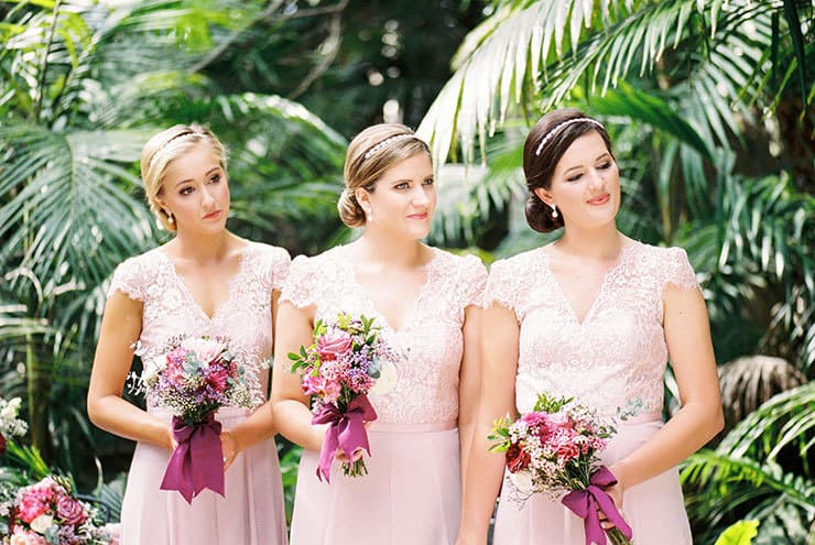 Romantic-Gold-&-Pink-Vintage-Wedding-Ceremony-Bridesmaids