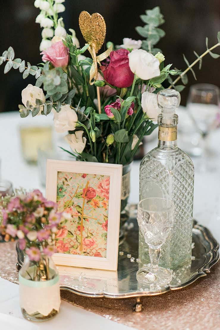 Romantic-Gold-&-Pink-Vintage-Wedding-Reception-DIY-Centrepiece