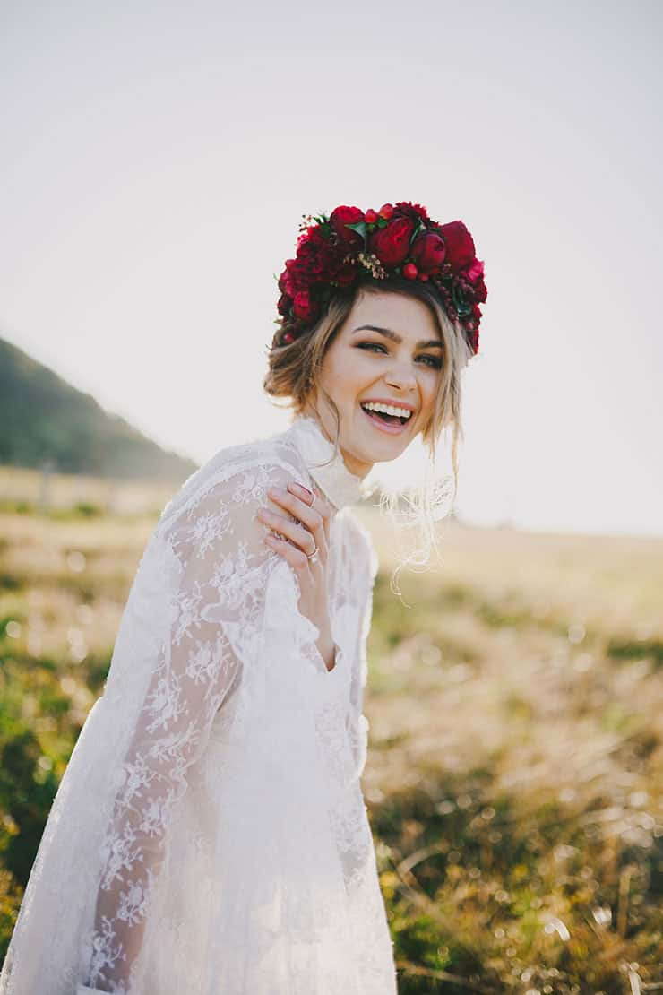 Romantic red floral wedding inspiration bohemian bride wearing vintage lace wedding dress with natural makeup and red flower crown izmirmasajfo