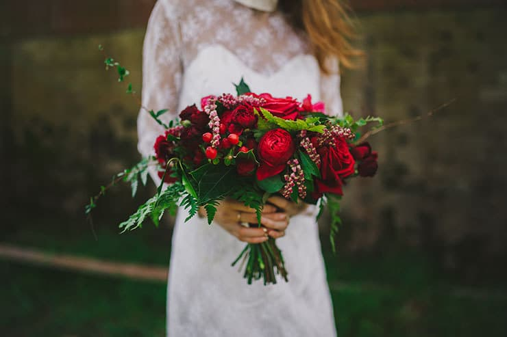 Romantic red floral wedding inspiration bridal bouquet with roses