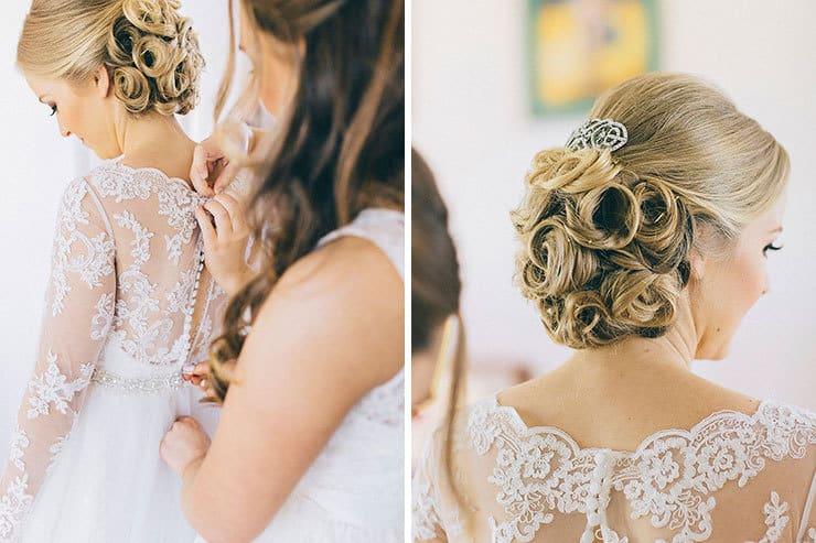 Elegant wedding day bridal hairstyle