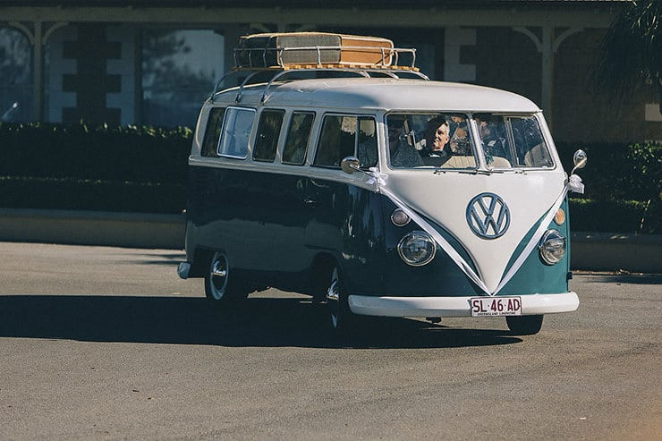 Wedding party arrival by Kombi