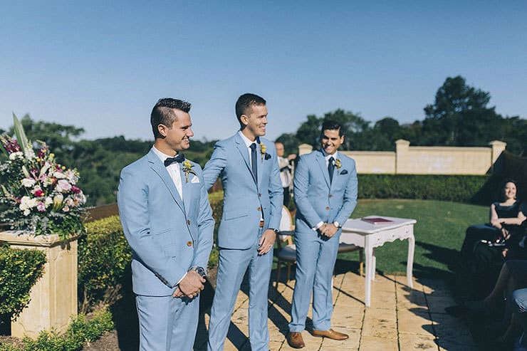 Groom seeing bride for first time at ceremony