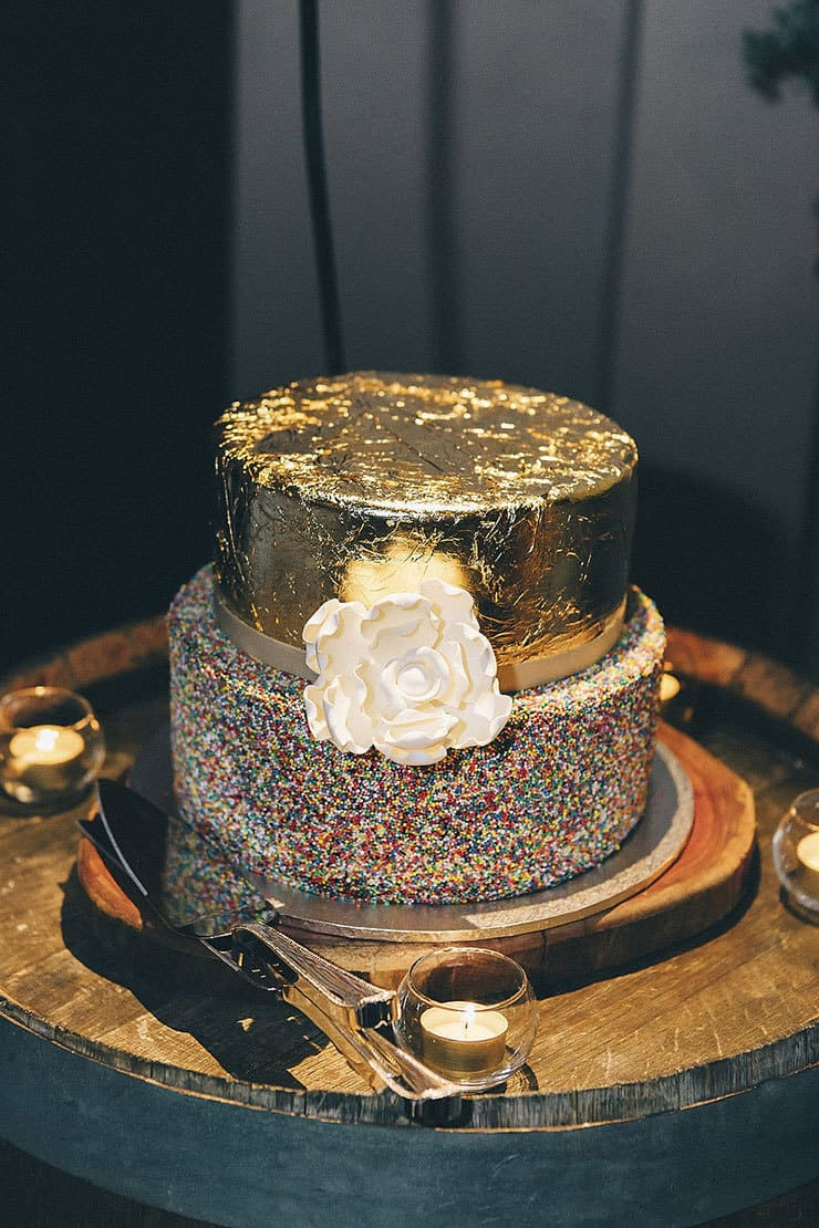 Wedding cake with gold foil and hundreds and thousands