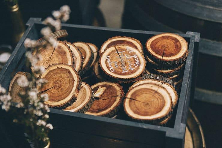 Wood round wedding guest book