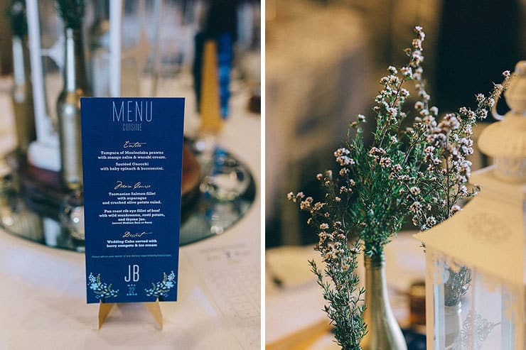Romantic vintage wedding reception styling menu and flowers
